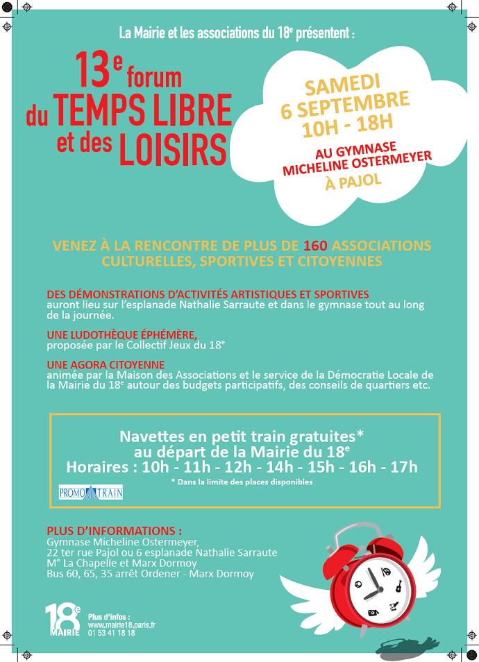 Retrouvez nous le 6 septembre lors du Forum du Temps Libre